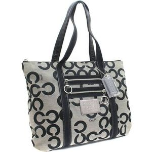 Used Coach 14530 Op Art Tote Bag Black